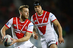 St Helens' Danny Richardson (left) and Jonny Lomax in action against Leeds Rhinos, during the Betfred Super League match at The Totally Wicked Stadium, St Helens.