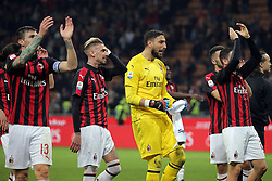 March 2, 2019 - Milan, Milan, Italy - Gianluigi Donnarumma #99 of AC Milan celebrate a victory at the end of the serie A match between AC Milan and US Sassuolo at Stadio Giuseppe Meazza on March 02, 2019 in Milan, Italy. (Credit Image: © Giuseppe Cottini/NurPhoto via ZUMA Press)