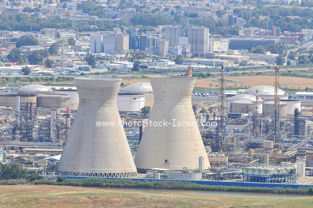 Israel, Haifa bay the cooling towers of the oil refinery