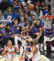 October 21, 2017 - Los Angeles, California, U.S - Blake Griffin #32 of the Los Angeles Clippers goes for a shot against defenders of the Phoenix Suns during their first season game on Saturday October 21, 2017 at the Staples Center in Los Angeles, California. Clippers defeat Suns, 130-88. (Credit Image: © Prensa Internacional via ZUMA Wire)