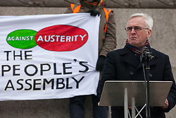 London, UK. 12th January, 2019. Shadow Chancellor John McDonnell addresses hundreds of protesters taking part in a 'Britain is Broken: General Election Now' demonstration organised by the People's Assembly Against Austerity. Organisers argued that the overriding objective of working people in the UK should be to remove the Conservative Government from power through a general election regardless of their vote in the EU referendum.