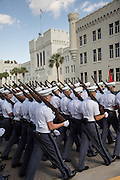 Members of the Citadel Military College corps of cadets march back to the barracks during the first Friday Dress Parade on September 6, 2013 in Charleston, South Carolina. The Friday Dress Parade is a tradition at the Citadel going back to 1843.