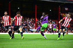 Famara Diedhiou of Bristol City takes a shot at goal - Mandatory by-line: Dougie Allward/JMP - 15/08/2017 - FOOTBALL - Griffin Park - Brentford, England - Brentford v Bristol City - Sky Bet Championship