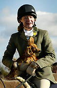 Professor Gill Ross an Oncologist at the Royal Marsden hospital with her dog Poppy at the Surrey Union Hunt.