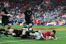 British and Irish Lions' Conor Murray dives in to score his sides second try during the second test of the 2017 British and Irish Lions tour at Westpac Stadium, Wellington.