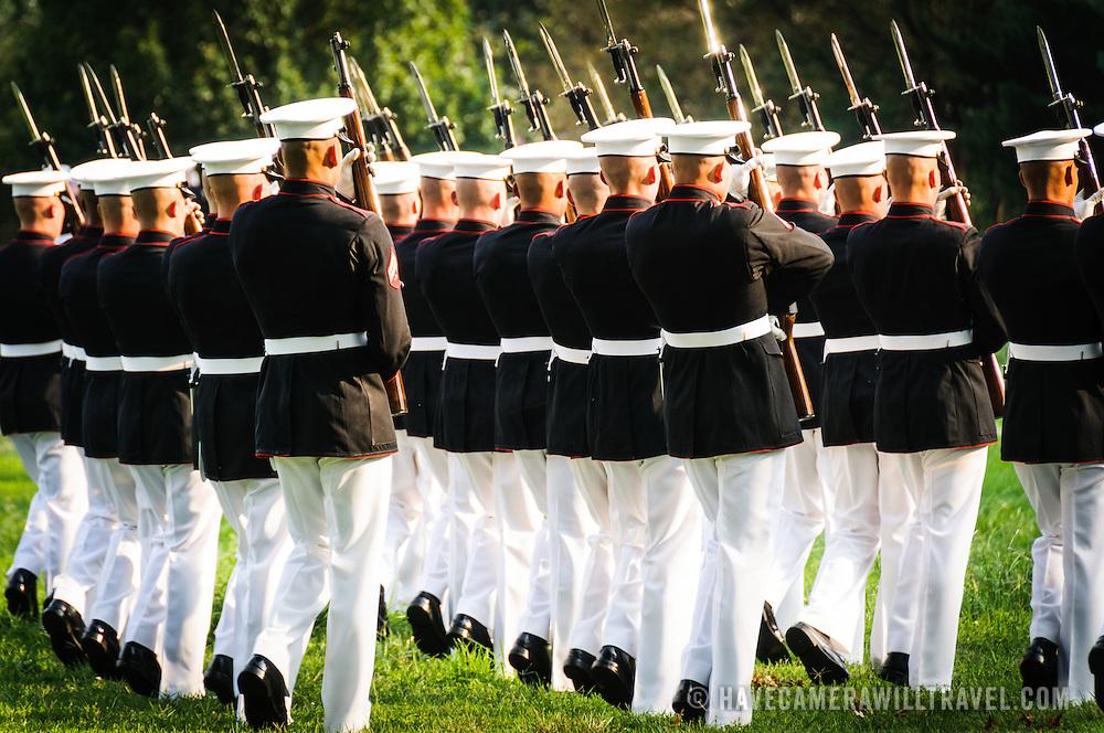 Marine Corps Silent Drill Platoon at the Marine Corps Sunset Parade at the Marine Corps War Memorial (Iwo Jima Memorial) next to Arlington National Cemetery
