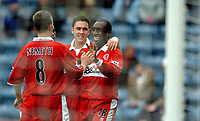 Photo: Back Page Images. 16/10/2004.<br /> Barclays Premiership. Blackburn Rovers v Middlesbrough. Ewood Park.<br /> Jimmy Floyd Hasselbaink celebrates his third goal of the afternoon with Stuart Downing Szilard Nemeth and George Boateng.