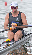 Poznan, POLAND, 21st June 2019, Friday, Morning Heats, NZL M1X. Robbie MANSON,  moves away from the start in his heat of the Men's Single Sculls, FISA World Rowing Cup II, Malta Lake Course, © Peter SPURRIER/Intersport Images,<br /><br />12:20:56