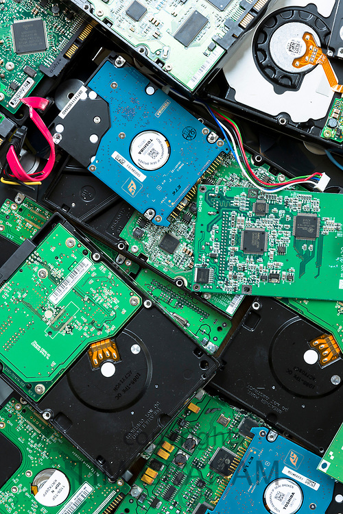 Circuit boards of computer hard drives, cables, connections and terminals