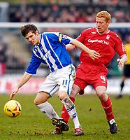 Photo: Alan Crowhurst.<br />Brighton & Hove Albion v Nottingham Forest. Coca Cola League 1. 17/02/2007. Brighton's Dean Hammond (L).