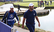 Jon Rahm (Team Europe) loses on the 18th during Friday's Fourballs, at the Ryder Cup, Le Golf National, Îls-de-France, France. 28/09/2018.<br /> Picture David Lloyd / Golffile.ie<br /> <br /> All photo usage must carry mandatory copyright credit (© Golffile | David Lloyd)