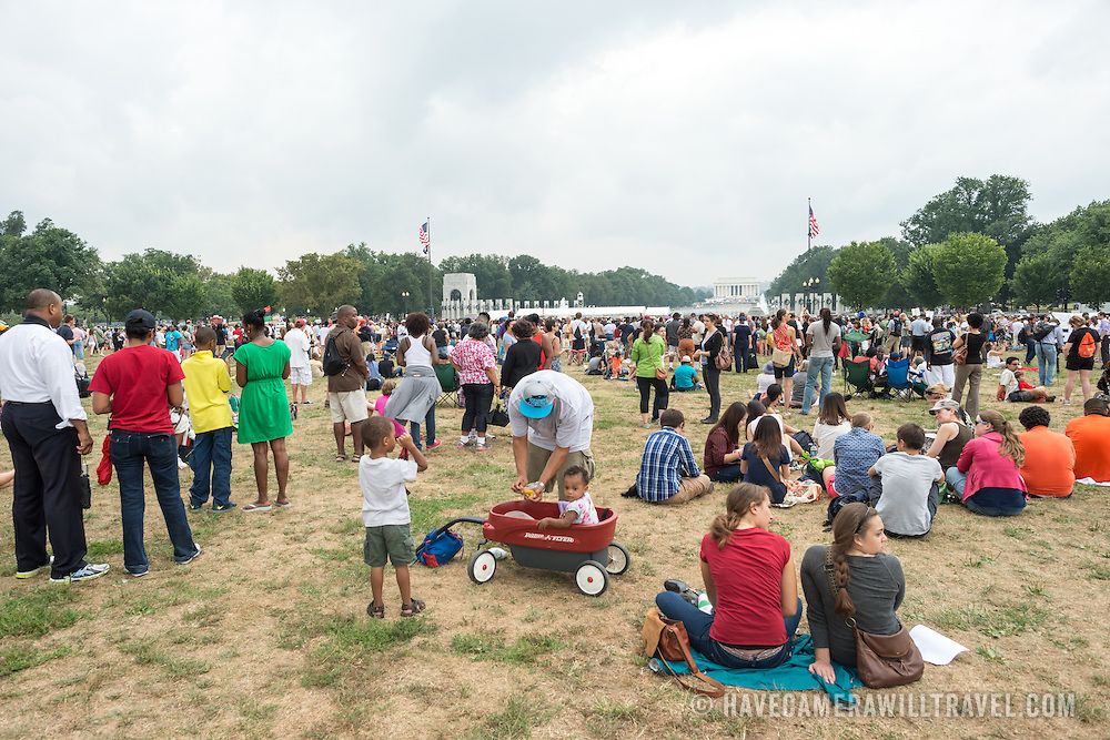 """Large crowds on Washington DC's National Mall at the commemoration of the 50th anniversary of the 1963 March on Washington famously remembered for civil right leader Martin Luther King Jr's """"I Have a Dream"""" speech."""