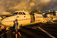 Air Tahiti ATR 72 Turboprop aircraft, Fa'a'ā International Airport, Faaa, Tahiti, French Polynesia.