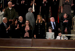 FEBRUARY 5, 2019 - WASHINGTON, DC: President Donald Trump arrived in the House chamber before delivering the State of the Union address at the Capitol in Washington, DC on February 5, 2019. Credit: Doug Mills / Pool, via CNP. 05 Feb 2019 Pictured: First lady Melania Trump arrives prior to United States President Donald J. Trump delivering his second annual State of the Union Address to a joint session of the US Congress in the US Capitol in Washington, DC on Tuesday, February 5, 2019. Credit: Alex Edelman / CNP. Photo credit: Doug Mills - Pool via CNP / MEGA TheMegaAgency.com +1 888 505 6342