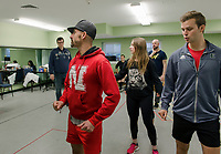 "Director Timothy L'Ecuyer (far left) works with Choreographer Bryan Knowlton and ""phantoms"" Kelley Davies and Jay Wilkinson as rehearsals get underway for the upcoming production of ""Rocky Horror Show"" at the Winnipesaukee Playhouse.  (Karen Bobotas/for the Laconia Daily Sun)"