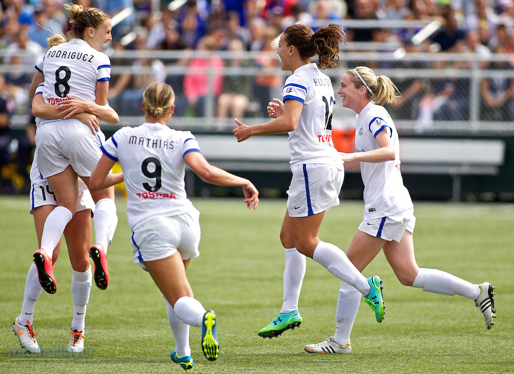 TUKWILA, WA - AUGUST 31: Amy Rodriguez #8 of FC Kansas City celebrates after scoring a goal int he second half of the National Women's Soccer League Championship on August 31, 2014 at Starfire Stadium in Tukwila, Washington.  (Photo by Craig Mitchelldyer/Getty Images) *** Local Caption *** Amy Rodriguez