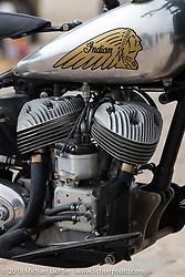 Dave Johnson's 1939 Indian Scout at the RSD Moto Beach Classic custom bike show. Huntington Beach, CA, USA. Sunday October 28, 2018. Photography ©2018 Michael Lichter.