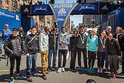 Elite runners meet and greet spectators at the finish line. Wes Korir, Meb Keflezighi, Lelisa Desisa, CarolineRotich