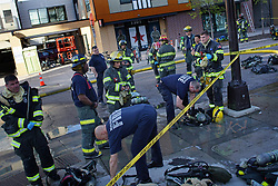 May 22, 2019 - Minneapolis, Minnesota, USA - Minneapolis firefighters responded Tuesday, May 7, 2019 to a report of a hazardous substance in a Dinkytown-area building. Residents, many of them University of Minnesota students, were cleared from the building. (Credit Image: © TNS via ZUMA Wire)
