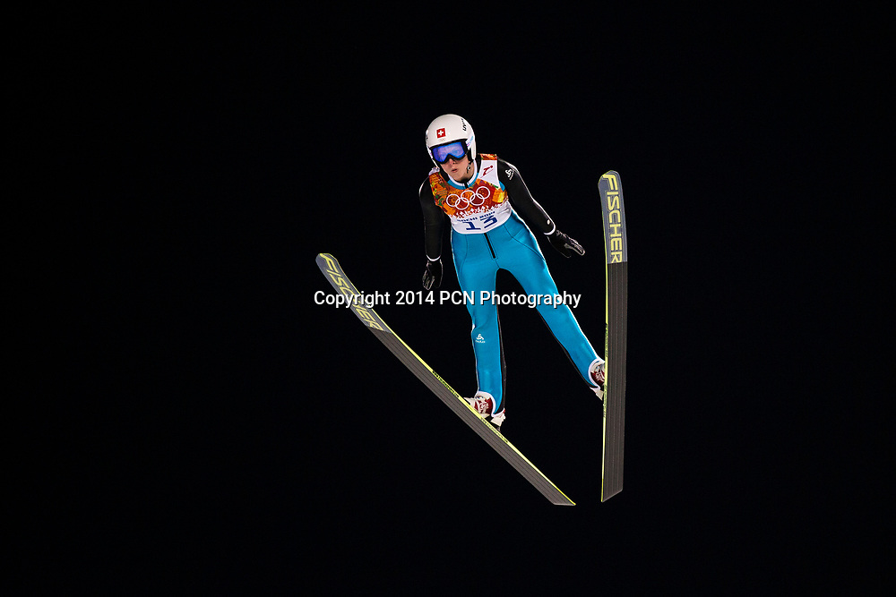 Bigna Windmueller (SUI) competing in Women's Ski Jumping at t he Olympic Winter Games, Sochi 2014
