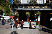 Outside the Elephants Head pub is a busy hang out for young Londoners and tourists in Camden Town, London, England, United Kingdom. Camden Town is famed for its market, warren of fashion and shops near Regent's Canal, and is a haven of alternative counter culture.