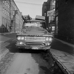 Robert F Anderson On-The-Scene Accident Photographs at Wallace - Saint John Streets New Haven CT - Circa 1962. Dodge Panel Service Truck for Southern New England Telephone (SNET), with Bell System Logo.