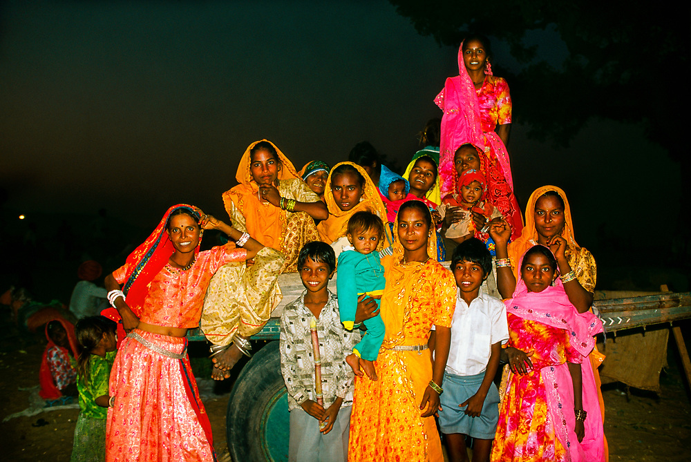 Group of Rajasthani women and children at the Pushkar Fair (Camel Fair), Pushkar, Rajasthan, India