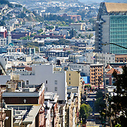 View out over the city of San Francisco looking down one of the steep hills of Nob Hill