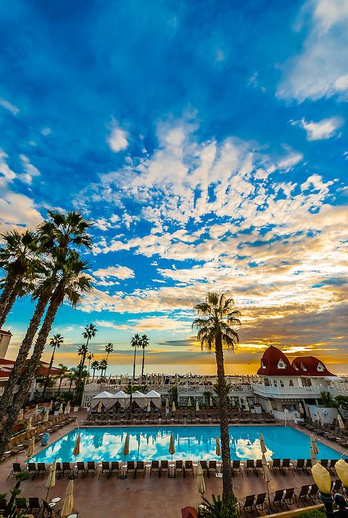 Swimming pool, Hotel del Coronado (a beachfront luxury hotel), Coronado Island (San Diego), California USA.