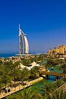 View from the Al Qasr Hotel, part of the Madinat Jumeirah resort complex, to the Burj al Arab Hotel, Dubai, United Arab Emirates
