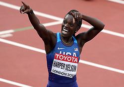 USA'S Dawb Harper Nelson celebrates winning heat 3 of the Women's 100m Hurdles Semi Final during day eight of the 2017 IAAF World Championships at the London Stadium.