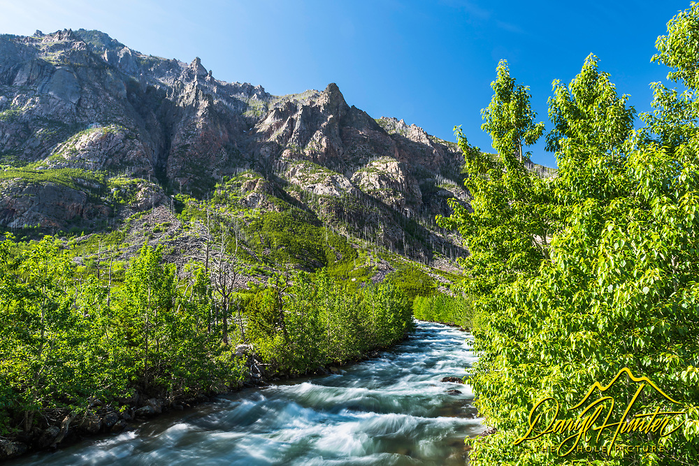 Montana's Beartooth Mountains cut a cool profile from the big Montana Sky here above the East Rosebud River