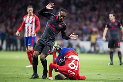 May 3, 2018 - Madrid, Spain - Atletico de Madrid Lucas Hernanez and Arsenal FC Alexandre Lacazette during Europa League Semi Finals Second Leg match between Atletico de Madrid and Arsenal FC at Wanda Metropolitano in Madrid, Spain. May 03, 2018. (Credit Image: © Coolmedia/NurPhoto via ZUMA Press)