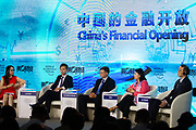 Yang Yanqing, Deputy Editor-in-Chief, Yicai Media Group, People's Republic of China, Mark Leung, Chief Executive Officer, China, JPMorgan Chase, Hong Kong SAR, China, Valdis Dombrovskis, Vice-President for Euro and Social Dialogue, Financial Stability, Financial Services and Capital Markets Union, European Commission, Brussels, Helen Zhu, Managing Director and Head, China Fundamental Equities, BlackRock, Hong Kong SAR, China, Liu Shijin, Vice-Chairman, China Development Research Foundation, People's Republic of China during the session: China's Financial Opening at the World Economic Forum - Annual Meeting of the New Champions in Tianjin, People's Republic of China 2018.Copyright by World Economic Forum / Greg Beadle
