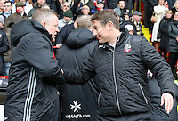 Bolton Wanderers manager Phil Parkinson (right ) & Sheffield United manager Chris Wilder embrace before kick off<br /> <br /> Photographer David Shipman/CameraSport<br /> <br /> The EFL Sky Bet League One - Sheffield United v Bolton Wanderers - Saturday 25th February 2017 - Bramall Lane - Sheffield<br /> <br /> World Copyright © 2017 CameraSport. All rights reserved. 43 Linden Ave. Countesthorpe. Leicester. England. LE8 5PG - Tel: +44 (0) 116 277 4147 - admin@camerasport.com - www.camerasport.com