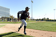 GLENDALE, ARIZONA - FEBRUARY 19: Eloy Jimenez #74 of the Chicago White Sox runs during spring training workouts on February 19, 2019 at Camelback Ranch in Glendale Arizona.  (Photo by Ron Vesely). Subject:   Eloy Jimenez