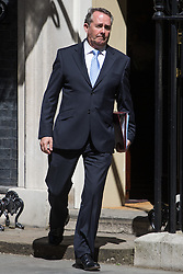 Downing Street, London, July 19th 2016. International Trade Secretary Liam Fox leaves the first full cabinet meeting since Prime Minister Theresa May took office.