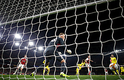 Arsenal's Shkodran Mustafi scores his side's second goal of the game
