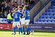 Macclesfield Town defender Theo Vassell celebrates his  goal with team-mates during the EFL Sky Bet League 2 match between Macclesfield Town and Crawley Town at Moss Rose, Macclesfield, United Kingdom on 7 September 2019.