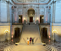 San Francisco Mayor London Breed marries Madelyn Peterson (left) and Indira Carmona Muñoz in the first City Hall ceremony since the start of the pandemic and following a Pride month celebration in San Francisco, Calif. Monday, June 7, 2021.