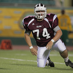 31 October, 2008:  St. Thomas Aquinas DT/OT Brandon Black  (#74) The St. Thomas Falcons recorded their first shut out of the season with a 41-0 shutout of the Southern Lab Kittens at Strawberry Stadium in Hammond, LA.