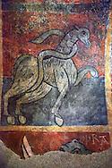 Mythical medieval animal. A 12th Century Romanesque fresco from the Church of Saint Joan Boi, al de Boi, Spain. National Art Museum of Catalonia, Barcelona. MNAC 15953