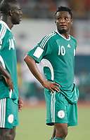 Photo: Steve Bond/Richard Lane Photography.<br /> Nigeria v Ivory Coast. Africa Cup of Nations. 21/01/2008. Jon Obi Mikel of Chelsea takes a breather