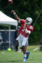 July 28, 2018 - Westfield, IN, U.S. - WESTFIELD, IN - JULY 28: Indianapolis Colts quarterback Jacoby Brissett (7) runs through a drill during the Indianapolis Colts training camp practice on July 28, 2018 at the Grand Park Sports Campus in Westfield, IN. (Photo by Zach Bolinger/Icon Sportswire) (Credit Image: © Zach Bolinger/Icon SMI via ZUMA Press)