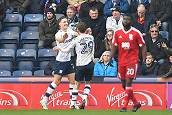 Preston North End's Daryl Horgan is congratulated on scoring his team's opening goal