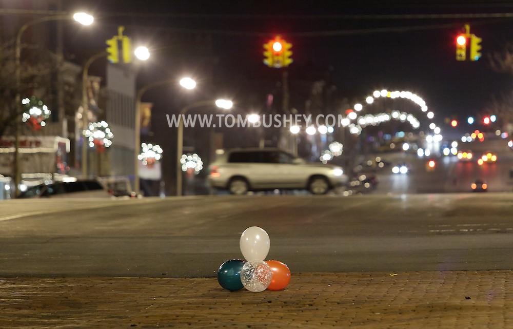 Newburgh, New York  - Ballons on Broadway after the Christmas tree lighting ceremony on  the night of Dec. 14, 2011.