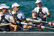 Munich, GERMANY, GBR LM4- , James LINDSAY-FYNN stretches his back before the heat of the lightweight men's four, [Crew Bow, Richard CHAMBERS, James LINDSAY-FYNN, Paul MATTICK and James CLARKE], during the FISA World Cup at the Munich Olympic Rowing Course, Thur's.  08.05.2008  [Mandatory Credit Peter Spurrier/ Intersport Images] Rowing Course, Olympic Regatta Rowing Course, Munich, GERMANY