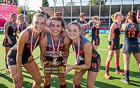 ANTWERPEN -  Oranje wint de finale. Sanne Koolen (Ned) , Frederique Matla (Ned) en Marijn Veen (Ned)   De finale  dames  Nederland-Duitsland  (2-0) bij het Europees kampioenschap hockey.   COPYRIGHT  KOEN SUYK