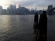 downtown New york skyline with the Brooklyn Bridge