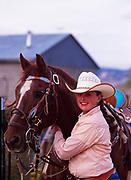 """Twelve-year-old Whitni Syrett with her horse """"Chubs"""" in Tropic, Utah."""